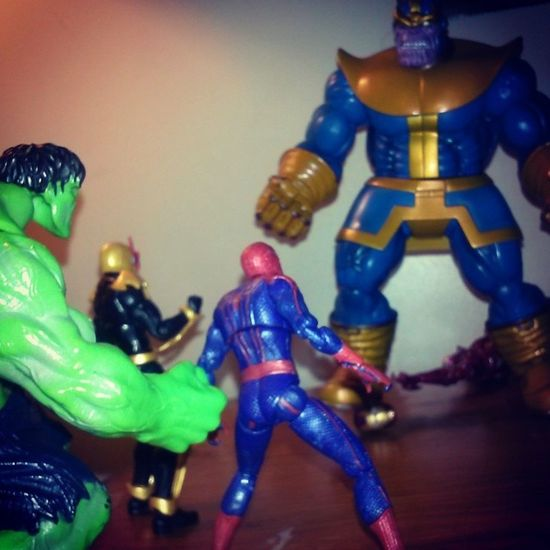 Earths mightiest heros fights off the mad titan thanos! Marvelselect Marveluniverse Figures Spiderman Hulk NOVA Thanos Thoughtiwascool