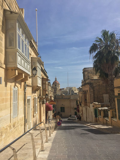 Streetview in Victoria, Gozo Architecture Building Exterior Built Structure City Day Gozo Medieval Medieval Architecture No People Outdoors Road Sky Street The Way Forward Tree Wooden Balconies