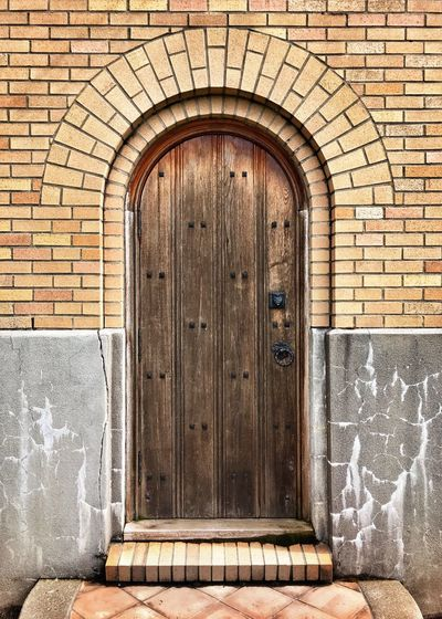 EyeEm Selects Door Architecture Brick Wall Built Structure No People Day Building Exterior Outdoors Wood Door Concrete Step Arched Doorway Mt. Angel Abbey Security Entrance