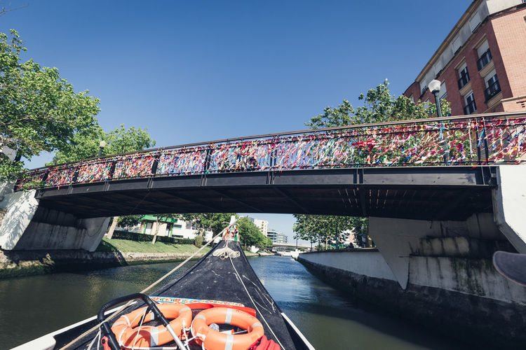 Bridge over canal against clear sky