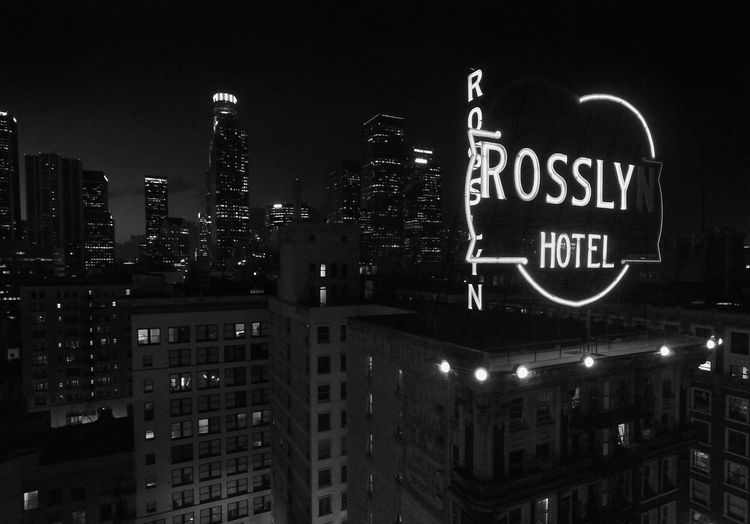 Night Illuminated Text Architecture Building Exterior No People Low Angle View City Outdoors Built Structure Skyscraper Drone  Droneshot Drone Dji Drone View Urban Los Angeles, California Losangeles DowntownLA Downtown Los Angeles Downtown Black & White Black And White