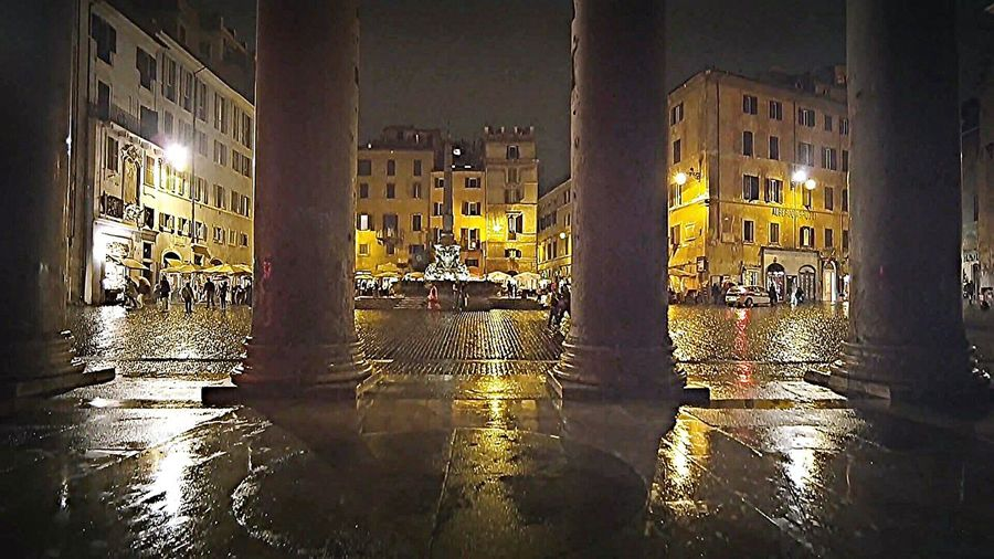 Reflection Architecture Building Exterior Outdoors Colums Reflection Rome, Italy City Travel Destinations Illuminated Night Multi Colored Cityscape History Architecture_collection Colour Photography Rome By Night Rome Italy🇮🇹 Rome Tourism Ancient Civilizations City Life In The Night Built Structure Tranquility