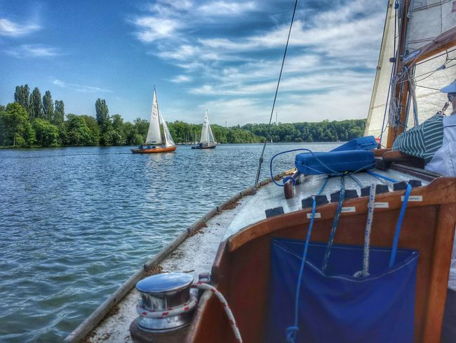 Himmelfahrt auf dem Baldeneysee Hdr_Collection Clouds And Sky Ruhrgebiet The Places I've Been Today Folkeboot Boats Sun Sailing Landscape Springtime