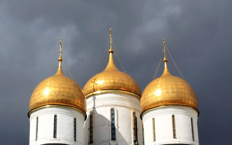 Dome Religion Architecture No People Close-up Outdoors Sky Rainy Cloud Built Structure Golden Moscow Moscow, Russia Kremlin Architecture Russia Russia Tourism Kremlin Complex Kremlin Cloudy Gold Gold Colored Rooftop Place Of Worship Spirituality Travel Destinations Day