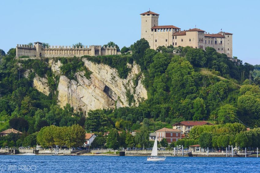 Architecture Building Exterior Built Structure Water Castle Outdoors Day Travel Destinations No People Clear Sky Mountain Nautical Vessel Photooftheday Photography Photo Castle View  Scenics Landscape Lakeshore Arona Lago Maggiore Arona, Italy Italy Summer