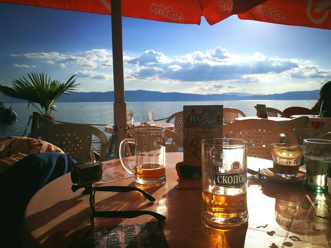 Ohrid Ohrid Lake Macedonia Chill Tranquility Trip Traveling Travel Holiday Scenery Scenics Lake View Lake Beer Beer Time Clouds And Sky Clouds Cloudy Mountain Hanging Out Relaxing Enjoying Life Oo P9 Huawei