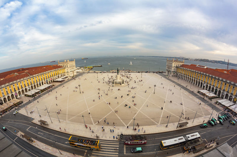 Top view of lisbon tourist square, commerce square