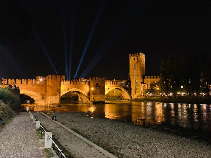 View of Verona - City of love - Italy Bridge Castle Italy Verona Built Structure Architecture Night Illuminated Water Building Exterior Connection River Bridge Sky City Building