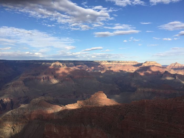 Clouds, Burst of light, Mountains, Grand Canyon