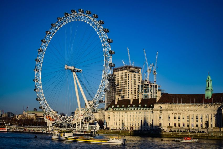 London Eye Blue Clear Sky Architecture Built Structure Ferris Wheel Building Exterior Day Water Outdoors Sky City