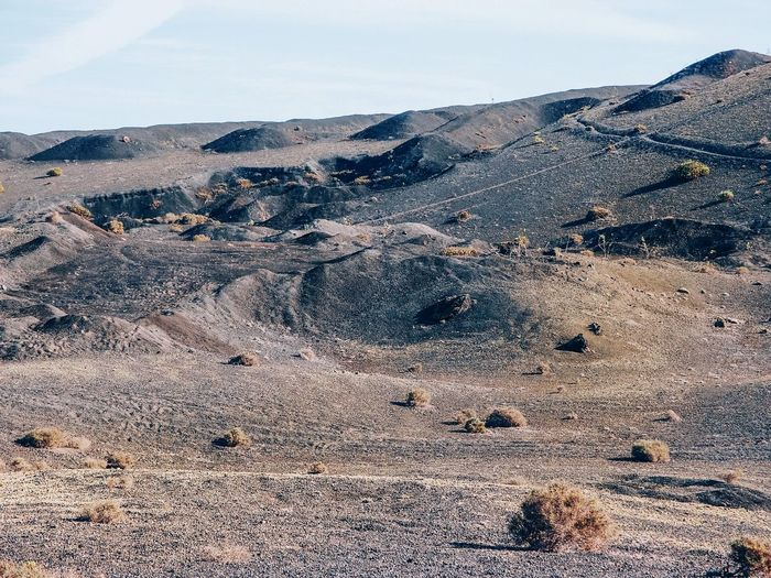 Scenic view of the volcanic landscape in timanfaya national park. lanzarote, canary islands