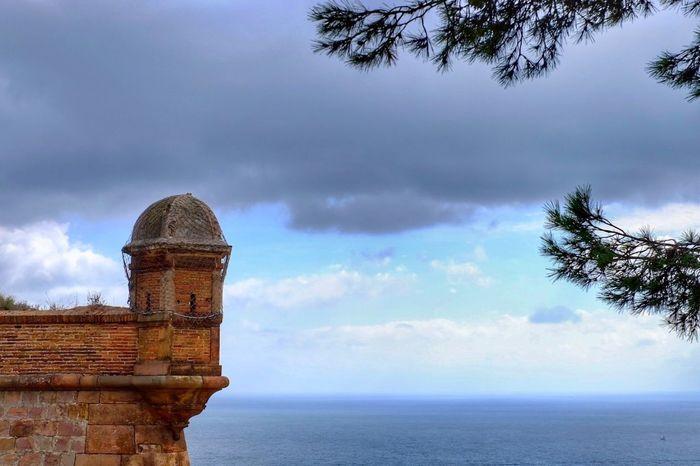 Sea Architecture Storm Cloud Castle Sea And Sky Seascape Sea View Montjuic Barcelona España SPAIN