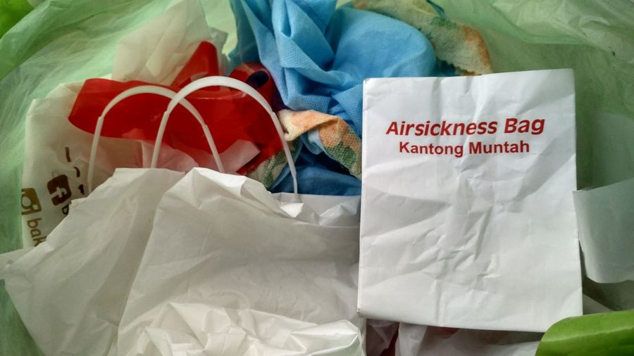 Airsickness bag Latepostclub Colorful EyeEm Selects EyeeEm Vision EyeEmbestshots Eyeemphotography EyeEm Indonesia EndPlasticPollution Bag Bags Crumpled Paper Textile Capital Letter Clothing Store Sack