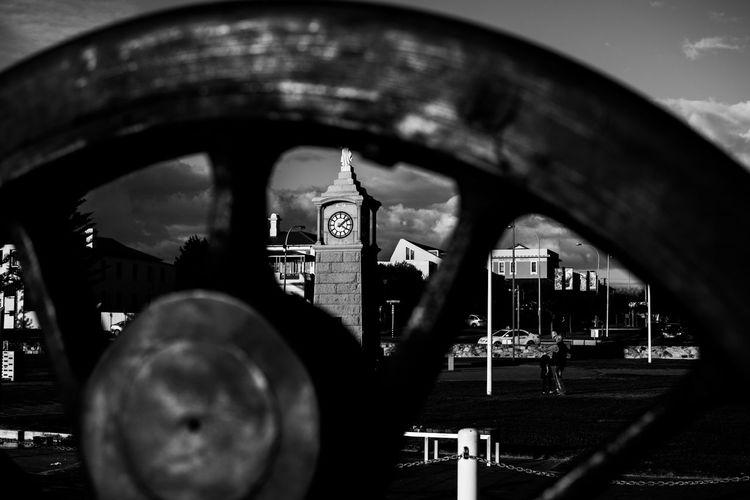 Architecture Black And White Blackandwhite Clock Black And White Outdoors Sky Train Wheel