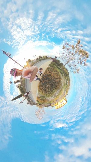 Walking In The Park Theta360 ThetaS Cloud - Sky Leisure Activity Tiny Planet Little Planet Photo Sphere
