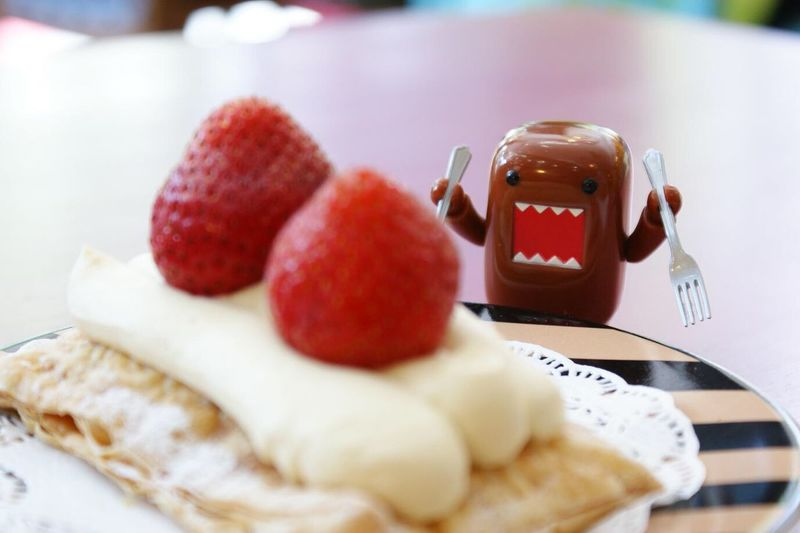Ooo Yummy 😋 Food And Toy Toy Photography Desserts Close-up Indulgence Toystory Justforfun Strawberry Pastry Yummy