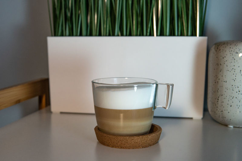 Home Homemade Coffee Latte Cappuccino Break Morning Ritual Foamy Foam Drink Food And Drink Refreshment No People Table Indoors  Glass Still Life Drinking Glass Cup Household Equipment Close-up Dairy Product Food Freshness Mug