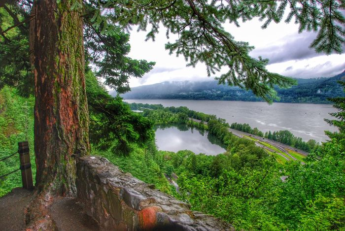 View from Multnomah waterfall on the Columbia River Gorge Multnomah Falls  Multnomah Columbia River Gorge Oregon EyeEm Best Shots Eyeemphotography EyeEm Gallery Taking Photos Enjoying Nature Landschaft Enjoying The View Nature_collection Water_collection Nature Photography Landscape_Collection Landscape_photography United States USA Pacific Northwest  EyeEm Nature Lover Waterscape Landscape Landschaften Landschaftsbilder Landschaftsfotografie