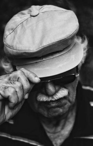 EyeEm Best Shots EyeEmPortraits Blackandwhite B&w Grandfather Human Hand Portrait Men Human Face Headshot Senior Adult Headwear Senior Men Looking At Camera Close-up