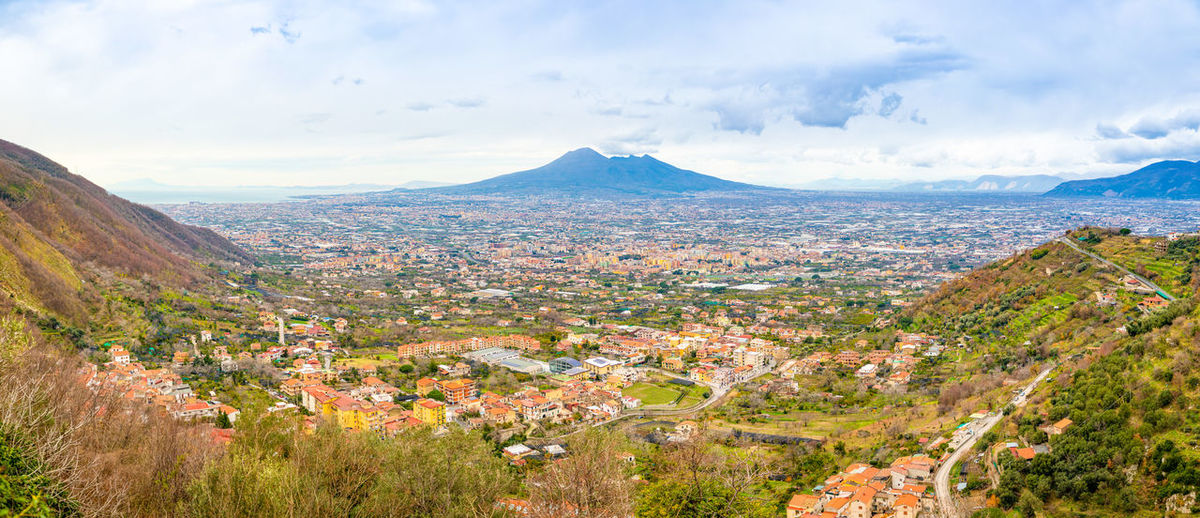 Pompeii  Italy Vesuvio Volcano Panorama Landscape City Mountain Nature Cloud - Sky Sky Environment Plant Scenics - Nature Architecture Beauty In Nature Building Exterior Day Tranquil Scene Tree Built Structure No People Residential District Building Tranquility Outdoors Cityscape TOWNSCAPE