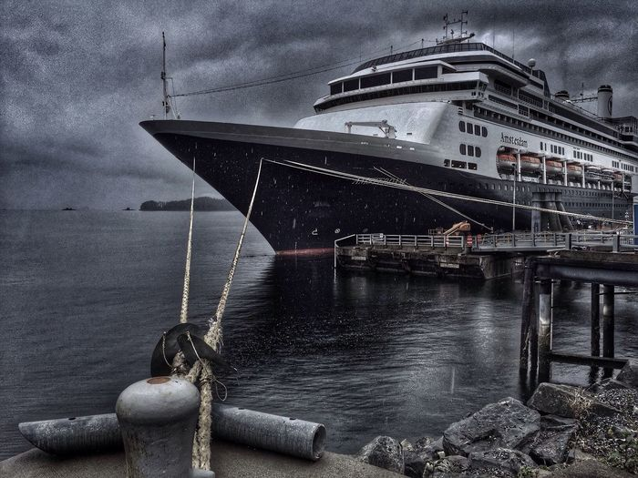 Ship docked at an Alaskan port on a rainy day... Water Sea Nautical Vessel Cloud - Sky Harbor Travel Destinations Journey Tranquility Alaska Rainy Days Cloudy Day Vacation Time SitkaAlaska