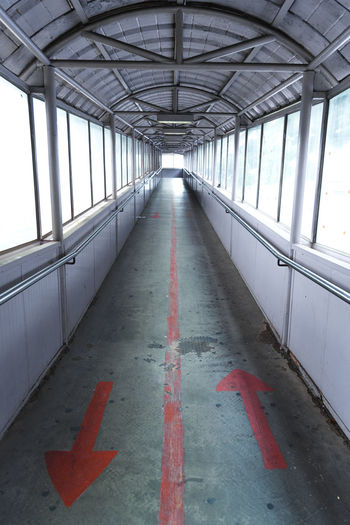 View of empty covered bridge