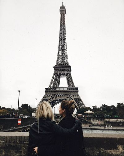 Cultures Tower Architecture Travel Destinations Real People City Tourism Building Exterior Clear Sky Outdoors Women Friends Friendship Sisters Girls Paris Eiffel Tower EyeEmNewHere
