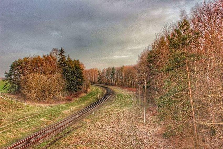 На работу) беларусь Природа жд железнаядорога весна небо Belarus Nature Spring Sky Skidel