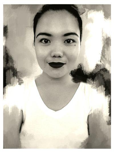 So my lips are black.. Blackandwhite Self Portrait