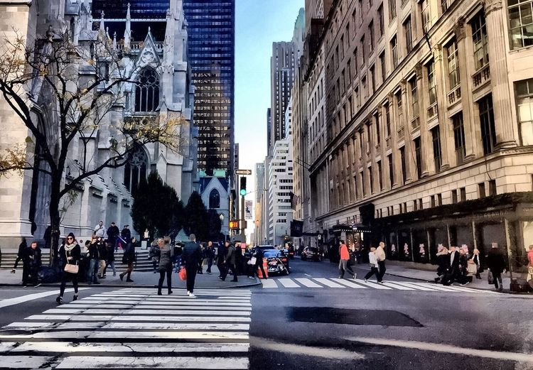 Saks Fifth Ave New York City Street Photography Streetphotography Large Group Of People Architecture Building Exterior City Street Built Structure Walking City Life Outdoors Day Road Women Crowd Sky People Adult