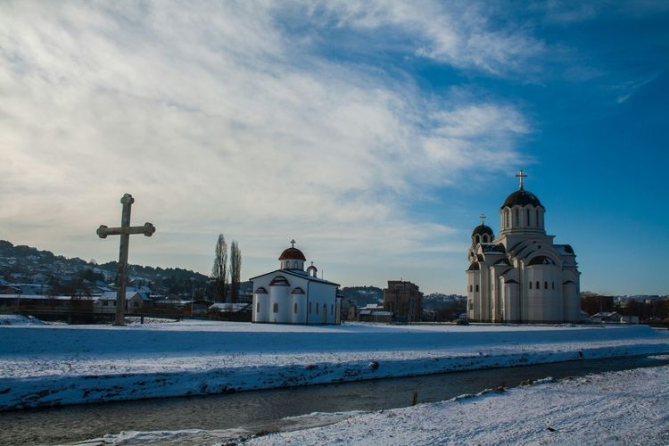 Winter Snow Cold Temperature Architecture Building Exterior Sky Religion Outdoors Place Of Worship Orthodox Church Orthodoxy Orthodox Monastery EyeEmBestPics Eyeemphotography EyeEm Best Shots Eye4photography  Built Structure Extreme Weather Architecture EyeEm Sun EyeEmbestshots