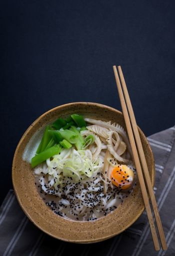 Udon Noodles Black Background Bowl Chopsticks Close-up Day Food Food And Drink Freshness Healthy Eating Indoors  Japanese Food No People Noodles Ready-to-eat Soup Studio Shot