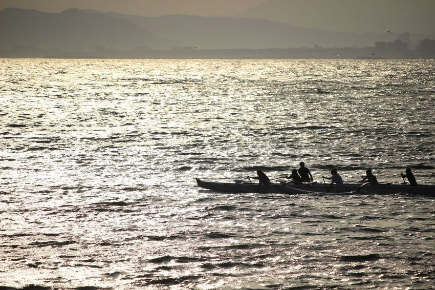 Outrigger Kayak Nature Water Scenics Sea Silhouette Nautical Vessel Mountain Sunset People Men Outdoors Day Real People Rowing Beauty In Nature Transportation Sky