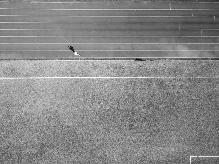 alone but not loneliness Hong Kong Blackandwhite Day Daylight Jogging One Person Outdoors Shadow Sport Sportsground Sunny Day Training