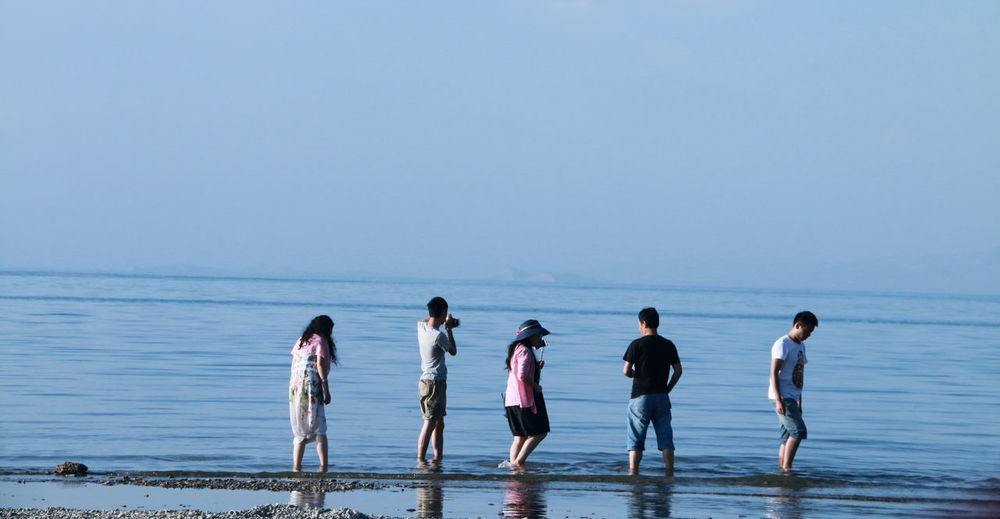 People On Shore Against Clear Blue Sky