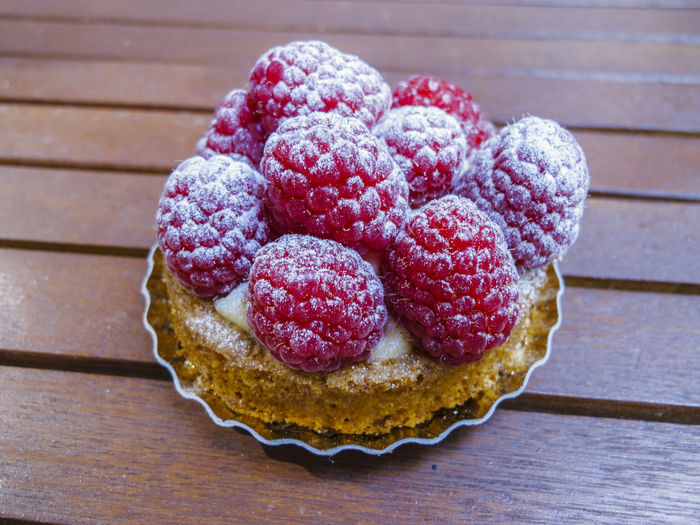 Close-up of raspberry tart