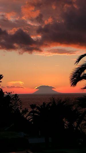 Stromboli by night Sunset Stromboli Volcano Palm Tree Italy Tropea Mediterranean Sea Multi Colored Romantic Sky Dramatic Sky Horizon Over Water Tranquil Scene Idyllic