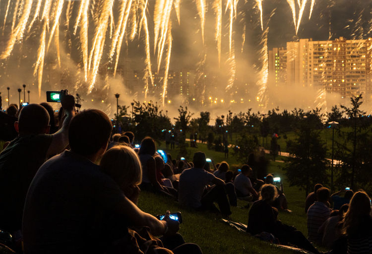 Russia, Moscow, fireworks, holiday, entertainment City City Life Crowd Enjoyment Event Fun Illuminated Large Group Of People Leisure Activity Lifestyles Mixed Age Range Night Outdoors Russia, Moscow, Fireworks, Holiday, Entertainment Watching