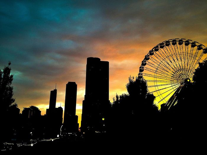 Chicago Ferris Wheel Cityscapes Sunset Lost In The Landscape