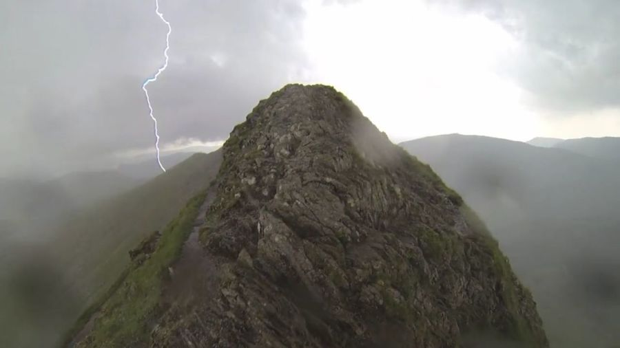 Picture Taken From Go Pro A Windy Day With Thunder & Lightening Not Agood Place To Be At The Time With Metal Objects In Backpack Lightening On The Edge Whilst Striding Striding Edge Helvellyn Go Higher