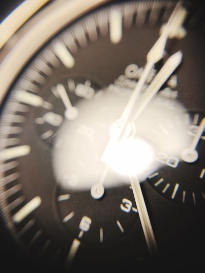 Look closer Omega Speedmaster Speedytuesday Clock Time Instrument Of Time Close-up Minute Hand Watch Wristwatch Blurred Motion