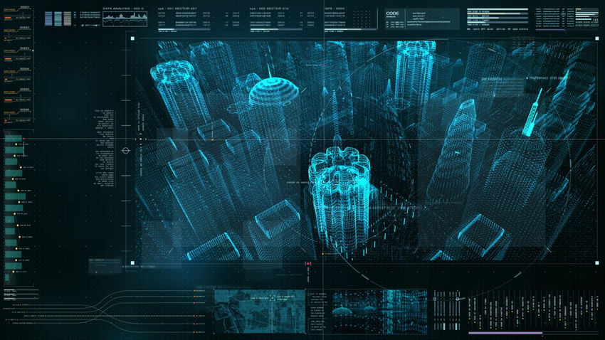 Futuristic user interface head up display digital cityscape with digital data information display for background computer desktop screen Futuristic Intelligence, Communication Computer Animation Data Technology Digital City Digital Map Espionage Head Up Display Holographic Holographic City Infographic Information Concept Intelligence Network Searching Spy Target Tracking Technological Technology Concept Telemetry Tracking User Interface