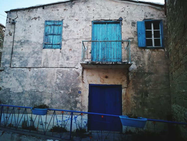 a bit of history Blue Residential Building Window House Door Architecture Building Exterior Built Structure Deterioration Weathered Rusty