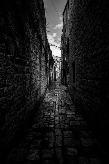 Long & Hard Street Streetphoto_bw Streetphotography Blackandwhite Photography Black & White Black And White Blackandwhite Hrvatska Croatia ❤ Croatia ♡ Croatia Trogir, Croatia Trogir Cobblestone Streets Cobblestone Architecture Built Structure The Way Forward Alley Building Exterior Walkway Day Outdoors