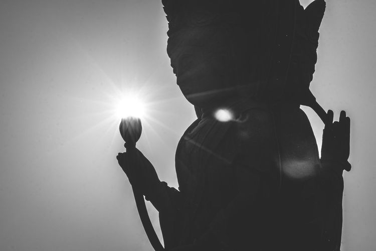 Spiritual Studies (through the lens) ||| ~ Spirituality Back Lit Bright Brightly Lit Buddhism Close-up Day Human Representation Illuminated Lens Flare Lotus Low Angle View Monochrome Nature Religion Representation Sculpture Silhouette Sky Statue Sun Sunbeam Sunlight Sunset Capture Tomorrow
