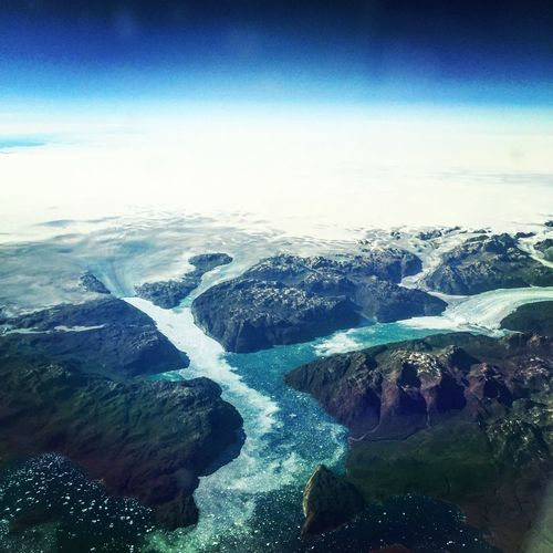 Airplane View Greenland Glaciers Glaciers Melt Glacier Sky Scenics - Nature Beauty In Nature Tranquil Scene Nature Tranquility Water Cloud - Sky Landscape Aerial View