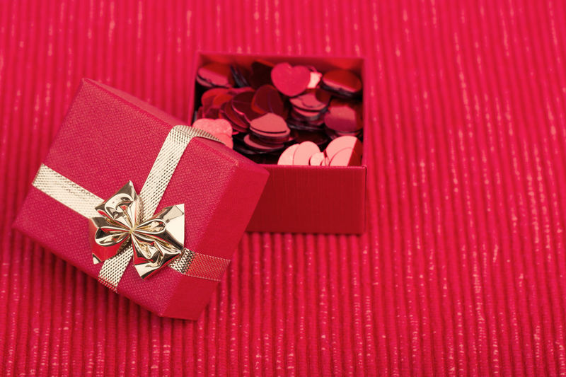 High angle view of red paper in box