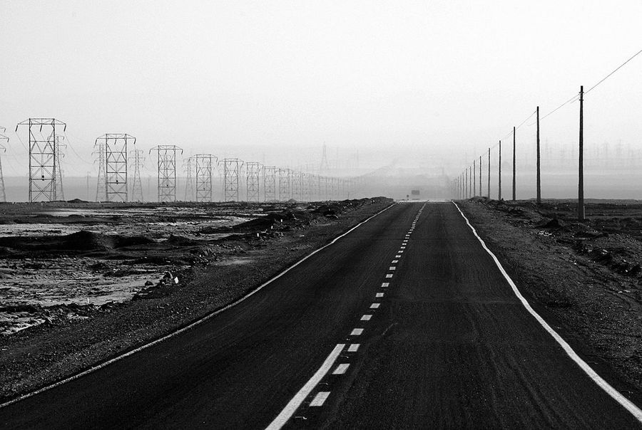 Transportation diminishing perspective Outdoors Desert Road Calama Chile Blackandwhite Photography
