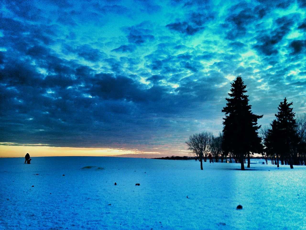 beauty in nature, nature, scenics, tranquility, sky, tranquil scene, tree, silhouette, outdoors, cold temperature, winter, blue, cloud - sky, sunset, water, sea, no people, snow, day
