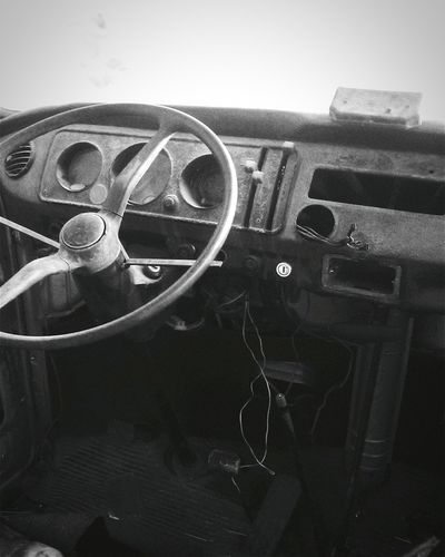 Blackandwhite Taking Photos EyeEm Best Shots - Black + White Inside Things Check This Out Abandoned Car Steering Wheel Mine Automoment Monochrome Photography The Drive